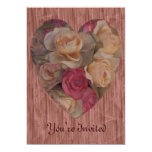 "Rose Bouquet Heart 5"" X 7"" Invitation Card"