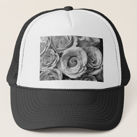 Rose Bouquet in Black and White Trucker Hat