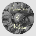 """Rose Bouquet In Black & White"" (1) Round Stickers"