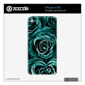 Rose Bouquet in Turquoise iPhone 4S Skins