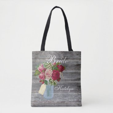Rose Bouquet Mason Jar Personalized Bride Country Tote Bag
