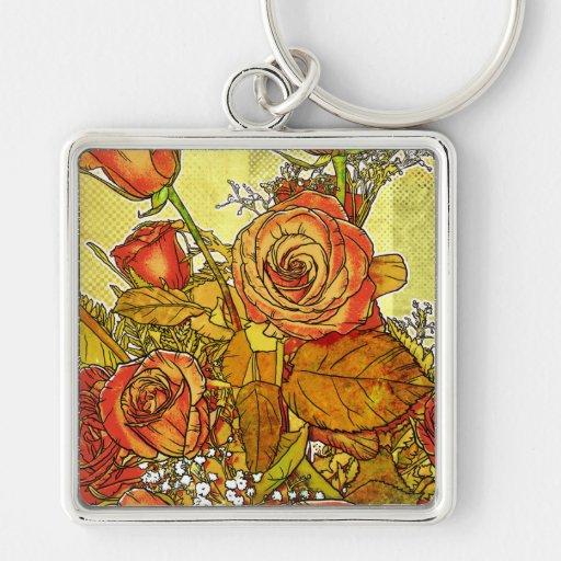 Rose Bouquet Modern Floral Keychain
