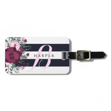 Paperpaperpaper Rose Bouquet & Navy Stripes Custom Name Luggage Tag