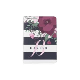 Rose Bouquet & Navy Stripes Monogram Passport Holder