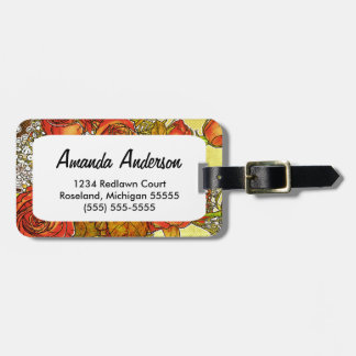 Rose Bouquet Personalized Floral Luggage Tag
