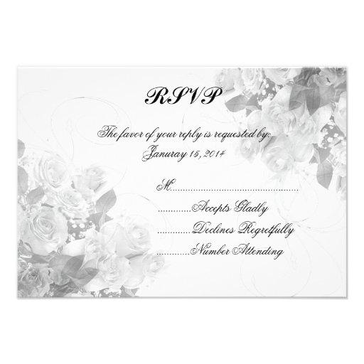 Rose bouquet personalized wedding RSVP Custom Invitation