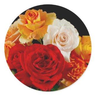 Rose Bouquet Round Sticker