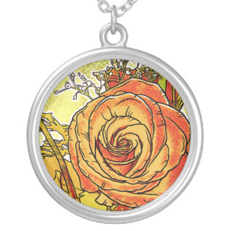 Rose Bouquet Silver Plated Pendant / Necklace