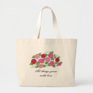 Rose bouquet tote bag