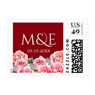 Rose Bouquet Wedding Monogram White Postage