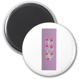 Rose bouquet with purple background 2 inch round magnet