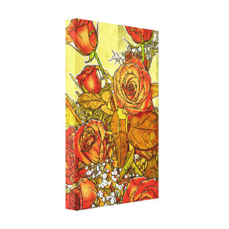 Rose Bouquet Wrapped Canvas Wall Art