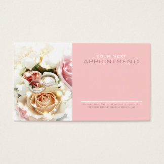 rose bouquets rings  wedding planner business business card