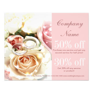 rose bouquets rings  wedding planner business flyer