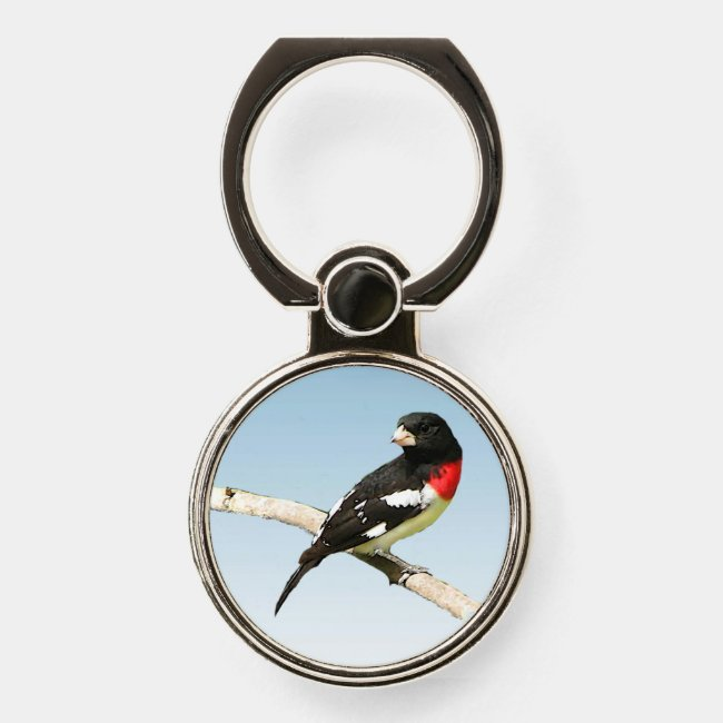 Rose-breasted Grosbeak Bird Phone Ring Holder