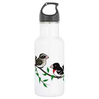 Rose-breasted Grosbeak Couple 18oz Water Bottle