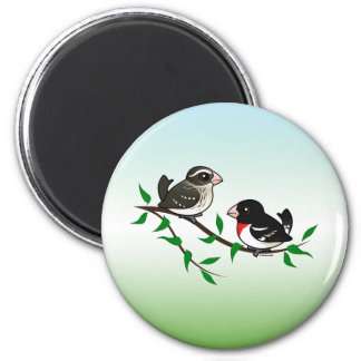 Rose-breasted Grosbeak Couple 2 Inch Round Magnet