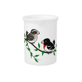 Rose-breasted Grosbeak Couple Beverage Pitchers
