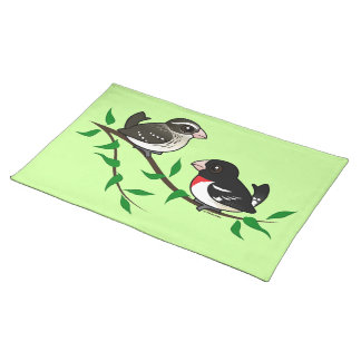 Rose-breasted Grosbeak Couple Cloth Place Mat