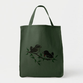 Rose-breasted Grosbeak Couple Grocery Tote Bag