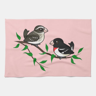 Rose-breasted Grosbeak Couple Hand Towels