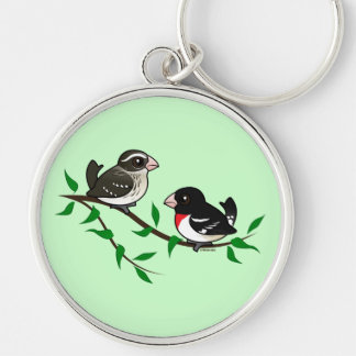 Rose-breasted Grosbeak Couple Silver-Colored Round Keychain