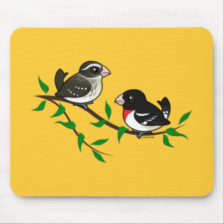 Rose-breasted Grosbeak Couple Mouse Pad