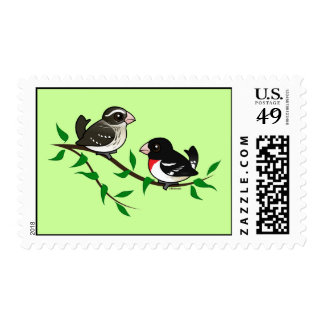 Rose-breasted Grosbeak Couple Postage Stamps