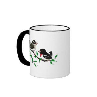 Rose-breasted Grosbeak Couple Ringer Coffee Mug