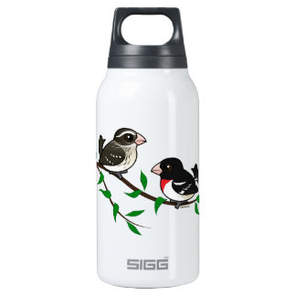 Rose-breasted Grosbeak Couple 10 Oz Insulated SIGG Thermos Water Bottle