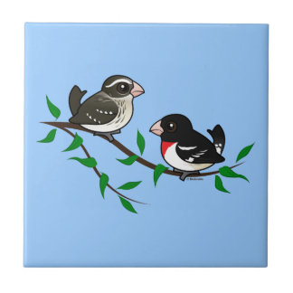 Rose-breasted Grosbeak Couple Small Square Tile