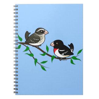 Rose-breasted Grosbeak Couple Spiral Notebook