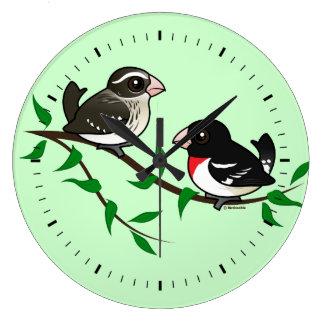 Rose-breasted Grosbeak Couple Wall Clock