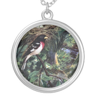 Rose-Breasted Grosbeak & His Nest of Eggs Necklace