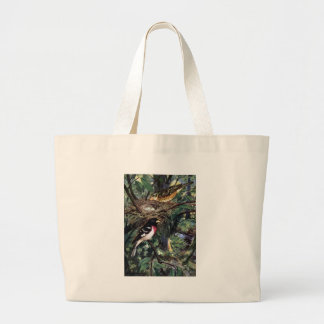 Rose-Breasted Grosbeaks and Their Nest of Eggs Large Tote Bag