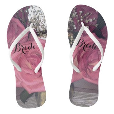 Beach Themed Rose Bride Flip Flops
