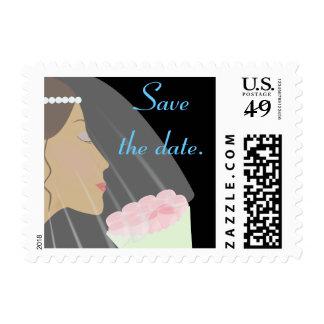 Rose Bride Wedding Stamp - Save the date