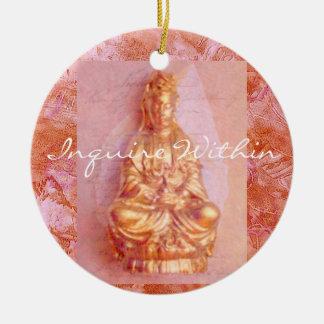 Rose-Bronze Kwan Yin Ceramic Ornament