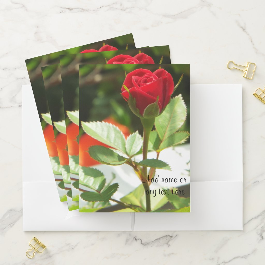 Rose Bud folders add your text to the front