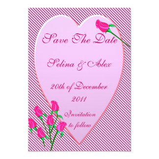 Rose Bud Heart Save the Date Card