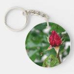 Rose Bud Single-Sided Round Acrylic Keychain