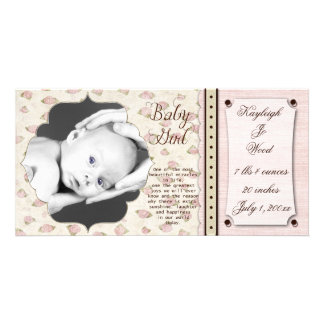 Rose Buds Baby Girl Birth Announcement Picture Card