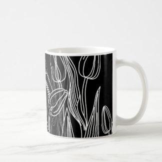 Rose Buds on Black Coffee Mug