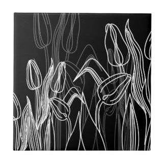 Rose Buds on Black Ceramic Tile