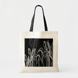 Rose Buds on Black Tote Bag