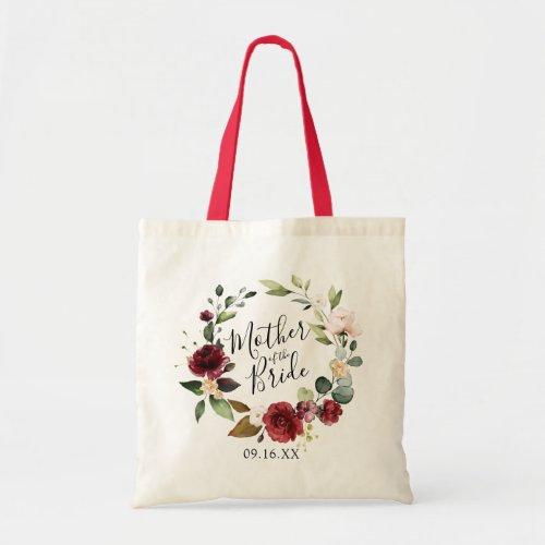 Rose Burgundy Floral Wreath Mother of the Bride Tote Bag