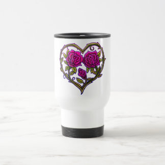 Rose Bush Heart Design Travel Mug