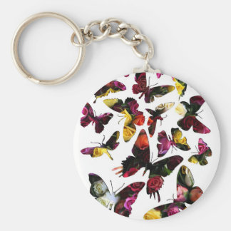 Rose Butterfly Collection Collage Keychain