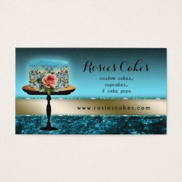 Professional Business Rose Cake Bakery Elegant Velvet Business Card