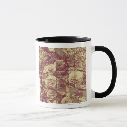 Rose camouflage pattern on tiled wall background mug